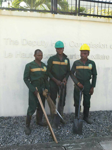 McGregor Nominees cleaning staff at the office of the Deputy High Commission of Canada in Lagos, Nigeria